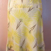 Missoni Flare Skirtsilk Linen Blendfloral Green Yellow Brown Beige40/4/s Rare Photo