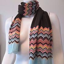 Missoni for Target Brown Coral Chevron Zigzag Wool Blend Thin Knit Winter Scarf Photo