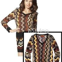 Missoni for Target M (Medium) Chiffon v Neck Blouse Top Sweater Brown Famiglia Photo