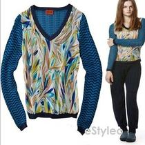 Missoni for Target Mix Media Combo Chiffon Sweater Blue/navy S (Small) Limited Photo
