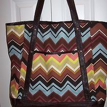 Missoni for Target  New Brown Multi Colore Chevron Large Shopping Tote Bag Photo