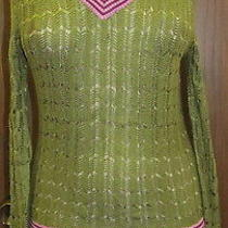 Missoni for Target Olive Green Purple Rayon Long Sleeve Knit v Neck Sweater Sz M Photo