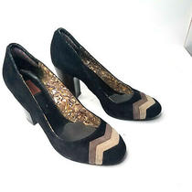 Missoni for Target Womens Size 8.5 Heel Black Suede Chunky Pumps Chevron Photo