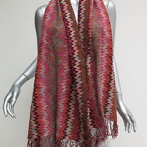 Missoni Foulard Scarf Fuchsia and Brown Zig Zag Striped Chenille Gently Worn Photo