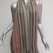 Missoni Foulard Scarf Rainbow Multi Color Zig Zag Striped Gently Worn Photo