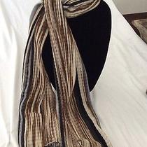 Missoni Fringed Brown Blackgrey Off White and White Striped Scarf Photo
