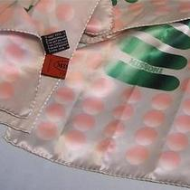 Missoni Gray Peach Pink Green Geometric Silk Oblong Orange Tag Logo Scarf Photo