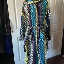 Missoni Home Italian Teals Purple Lime Luxury Cotton Bathrobe With Belt Size Xl Photo