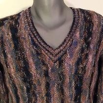 Missoni Italy v-Neck Multicolor Mens Wool/mohair Sweater Size S Vintage 1973  Photo