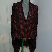 Missoni Long Cardigan Sz 38 Will Fit Uk 6-8 Black and Red & Metallic  Photo