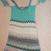 Missoni M Missoni Aqua Lilac Ivory Pink Silver Wave Knit Dress Sz 42 Us 6 900 Photo