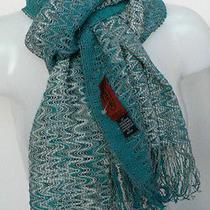 Missoni Mohair Mix Knit Scarf Zigzag Wave Pattern Aqua Teal Shawl New Photo