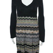 Missoni Multicolor Merino Wool Long Flared Sleeve v Neck Sweater Dress Sz It 42 Photo