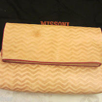 Missoni Natural Leather Fiesta Embossed Zigzag Foldover Oversized Clutch Bag  Photo