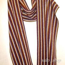 Missoni Orange Label Knitted Scarf/wool Blend/stripes/made in Italy/nwot Photo