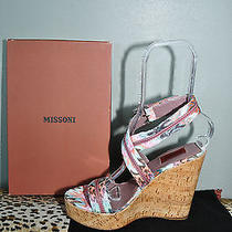 Missoni Orange Label Multi Colored Wrap Cork Wedges Shoes Sz 38 Us 8 Nib 545 Photo