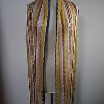 Missoni Orange Label Multicolored Knit Scarf With Fringe Ends Photo