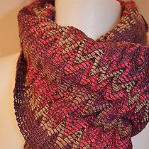 Missoni Orange Label Zigzag Long Knit Scarf  Pinks / Purples Made in Italy New Photo