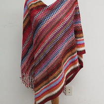 Missoni Poncho Dark Red Multi Color Multi Striped Chenille One Size Gently Worn Photo