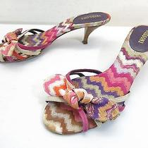 Missoni Sandals 37 7 Geometric Striped Multi-Color Canvas Mule High Heel Slip On Photo