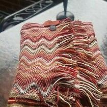 Missoni Scarf Zig Zag Stripe Wool Acrylic Fringe Brown Red Yellow 12