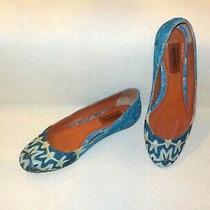 Missoni Shoes Ballet Flats Mediterranean Blue Metallic Thread Italy 37.5 &us 7.5 Photo