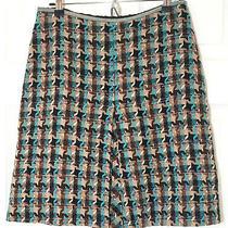 Missoni Skirt 42 Wool Tweed Brown and Blue Twill Herringbone Fall Photo