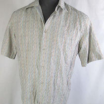 Missoni Sport 50 L Large Shirt Top Neutral Earth Tone Weave Button Front Ss Mens Photo