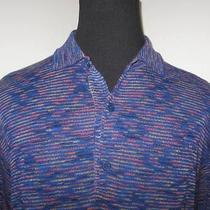 Missoni Sport Blue Multi-Color Knit Short Sleeve Polo Shirt 56 Photo