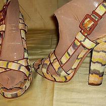 Missoni Strappy Platform Sandals Heelszig-Zag Fabricorange Green Brown 376.5 Photo