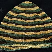 Missoni Striped Pattern Wool Beanie Hat Green Brown Photo