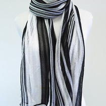 Missoni Striped Sheer Mesh-Knit Scarf Black and White Gently Worn Photo