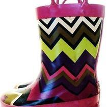 Missoni Target Girls Children Rain Boots Chevron Fuschia Sz S (7/8) Preowned Photo