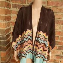 Missoni Target Shawl Wool Blendsweater Wrap Ruana Zig Zag Women Brown/blue Multi Photo