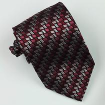 Missoni Tie Woven Silk Abstract Black Red Raspberry Pink Silver Grey Designer  Photo