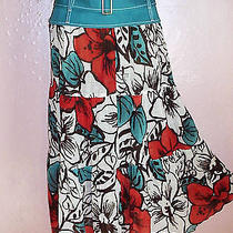 Missoni Tiered Midi Skirtred Turquoise Brown White Cotton Gauzegold Accent6-8 Photo