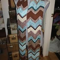 Missoni Turquoise Brown Signature Zig Zag Print Xtra Long Scarf Italy New Photo