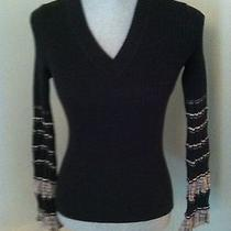 Missoni v-Neck Ribbed Sweater Wool Blend Long Flare Wrist Sleeves Sz 2     Photo