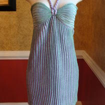 Missoni White Label Aqua & Lavender Sparkly Stripe Stretchy Halter Dress-42 Photo