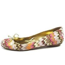Missoni Women Pink Beige White Gold Multicolor Knit Ballet Flat Shoes Bow 39.5 Photo