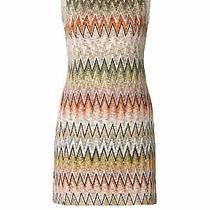 Missoni Women's Dress Beige Size 8 (It 44) Sheath Knit Woven Chevron 1675- 141 Photo