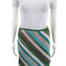 Missoni Women's Elastic Waist a-Line Skirt Cotton Blue Beige Size Small Photo
