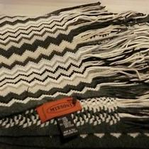 Missoni Women's Scarf Wool Blend Zig Zag Pattern Mixed Grey/beige/black Photo