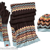 Missoni Womens Blue/brown/colore Set of 3 Wool Scarf Hat and Pointelle Gloves Photo