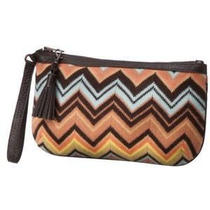 Missoni Wristlet Clutch Purse Aqua Peach Colore -Matches Scarf Dress & Tote Bag Photo