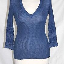 Missoni - Xs - Light-Weight Solid Blue Ruffle Cuff 3/4 Sleeve v-Neck Sweater  Photo