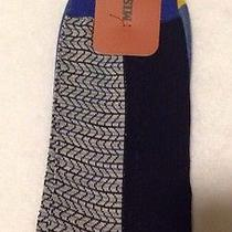 Missoni Zig Zag Cotton Blend Socks Blue Navy Yellow Italy L Weave Dress New Photo
