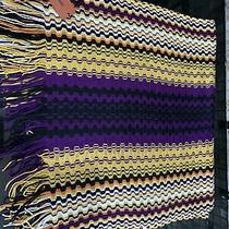 Missoni Zig Zag Fringe Scarf Wool Blend Xl 70x20 Yellow Purple Photo