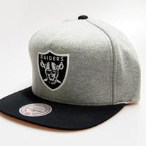Mitchell & Ness Oakland Raiders Nfl Pinch Panel Heather Grey Snapback Hat Cap Photo