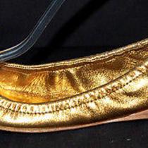 Miu Miu 585 Metallic Gold Leather Jeweled Ballet Flats 35 Photo
